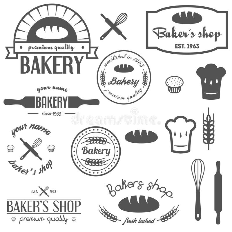 Insieme del logos d 39 annata del forno etichette distintivi e illustrazione vettoriale - Forno e microonde insieme ...