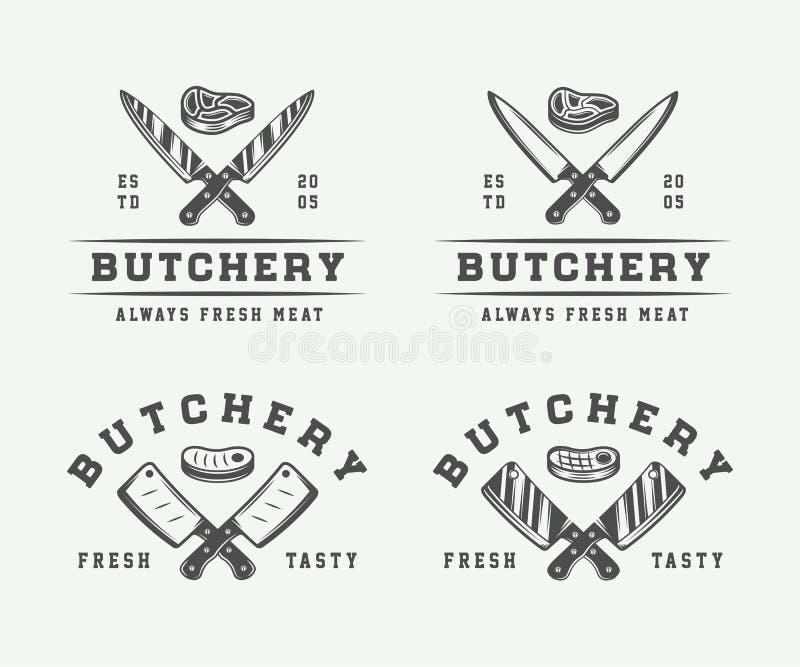 Insieme del logos d'annata della carne, della bistecca o del bbq della macelleria, emblemi illustrazione di stock