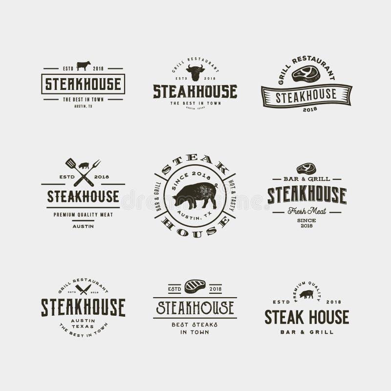 Insieme del logos d'annata dello steakhouse Illustrazione di vettore