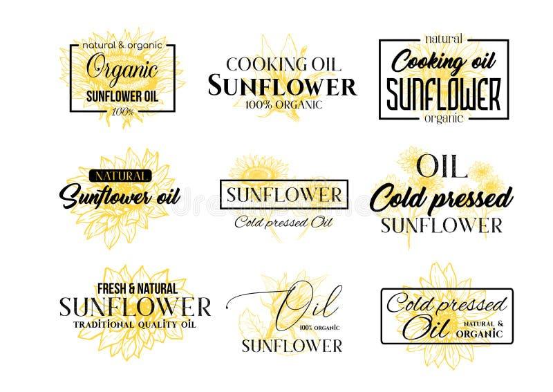 Insieme del logos dell'olio di girasole, Wildflower Logo Templates di tecnologia per Brabding Identty Il vettore ha isolato i fio illustrazione vettoriale