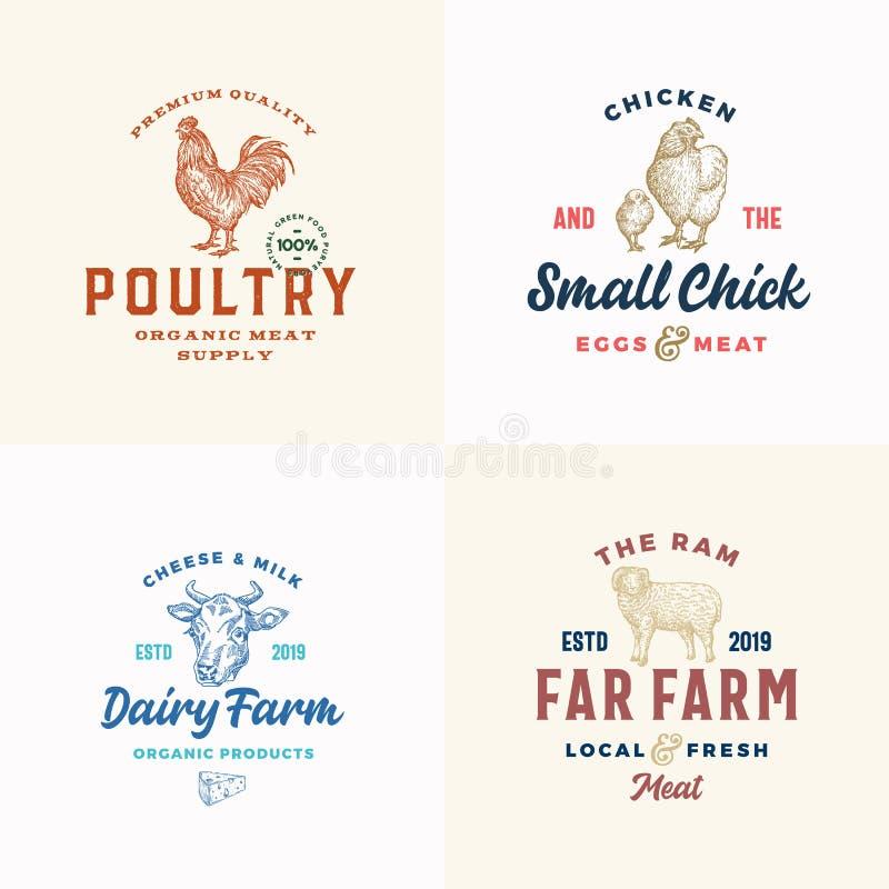 Insieme del logos della carne, del formaggio e del pollame dell'azienda agricola Segni di vettore o modelli astratti di simboli A illustrazione di stock