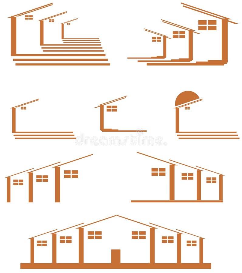 Insieme del logos della casa isolato illustrazione for Insieme del programma della casa