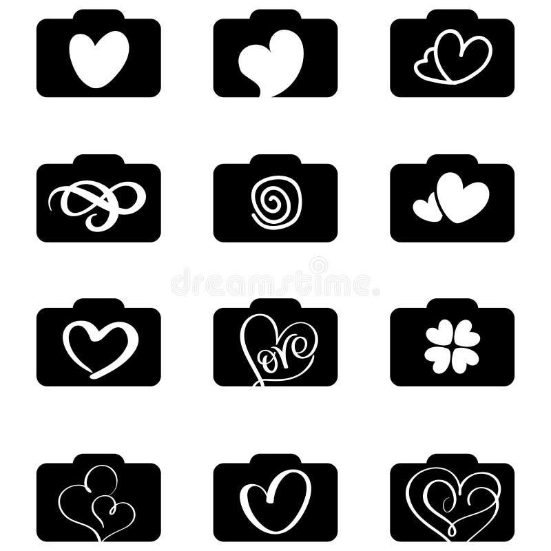 Insieme del logos delle icone di fotografia per nozze di amore Illustrazione EPS10 di vettore royalty illustrazione gratis