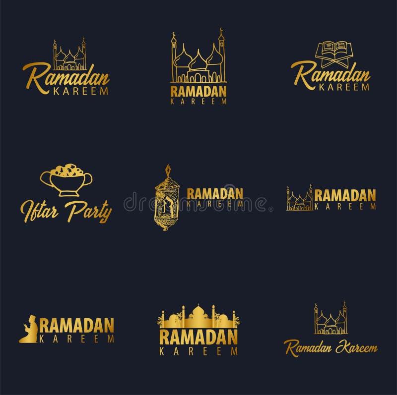 Insieme del logos di Ramadan Kareem dell'oro Emblemi islamici ed arabi Illustrazione di vettore illustrazione di stock
