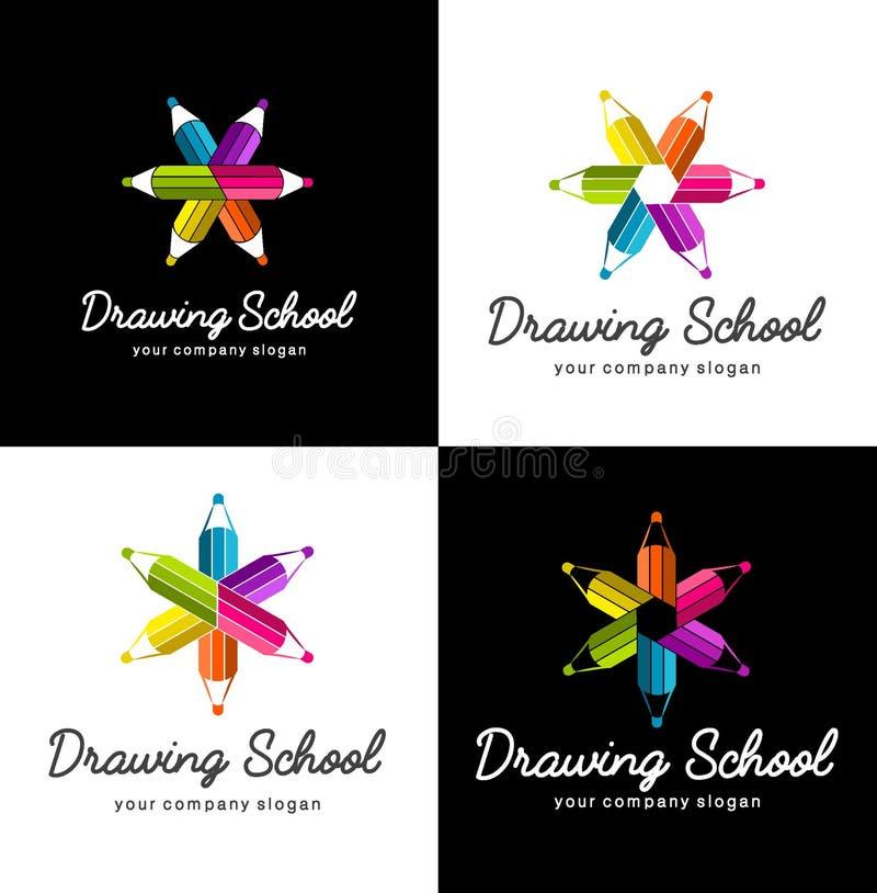 Insieme del logos di vettore per il disegno della scuola illustrazione vettoriale