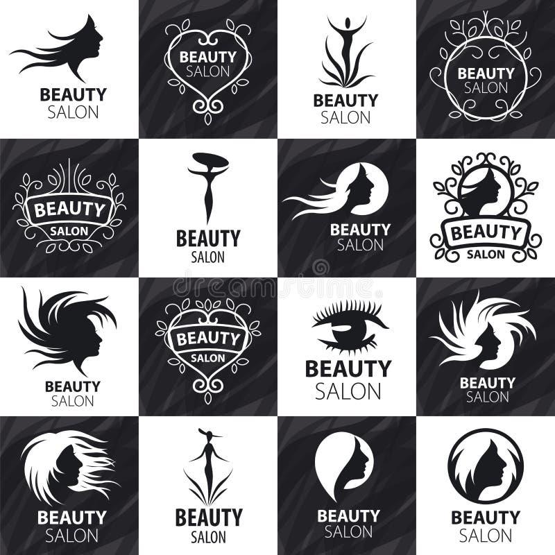 Insieme del logos di vettore per il salone di bellezza illustrazione vettoriale