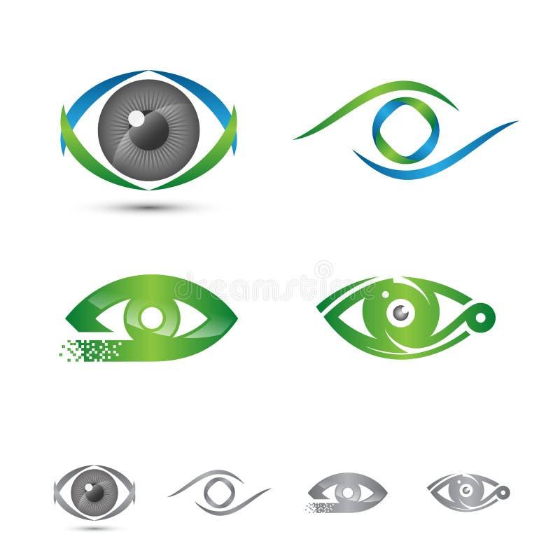 Insieme del logos ed icone del concetto di logo dell'occhio illustrazione di stock