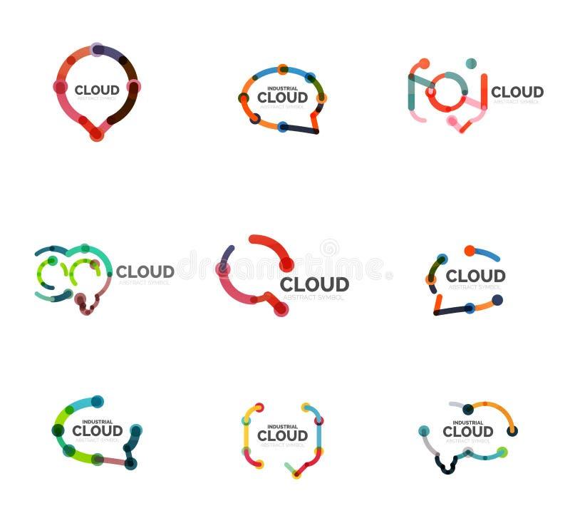 Insieme del logos lineare piano della nuvola di discorso di progettazione Parli le bolle, la linea sottile industriale geometrica illustrazione di stock