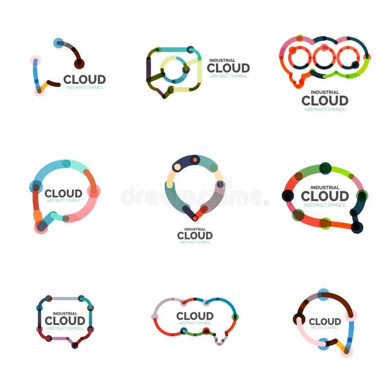 Insieme del logos lineare piano della nuvola di discorso di progettazione Parli le bolle, la linea sottile industriale geometrica illustrazione vettoriale