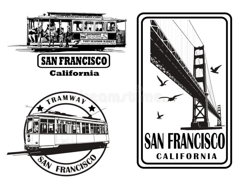Insieme del logos molto dettagliato circa San Francisco royalty illustrazione gratis