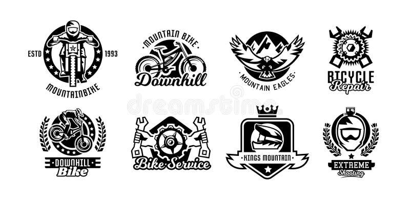 Insieme del logos, mountain bike Bicicletta, corridore, aquila, riparazione, servizio, in discesa, freeride Illustrazione di vett illustrazione di stock
