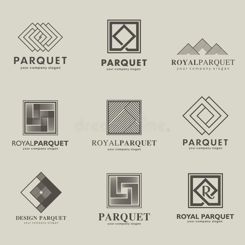 Insieme del logos parquet, bordo del parquet, laminato di vettore, pavimentante Bordo di legno royalty illustrazione gratis