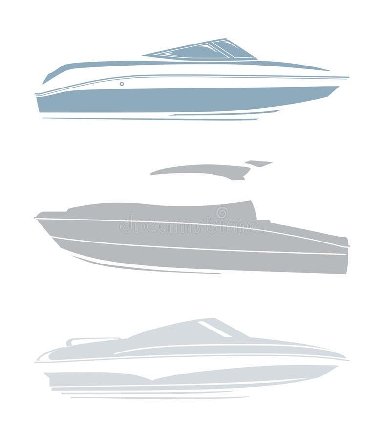Insieme del logos per gli yacht e le barche illustrazione di stock