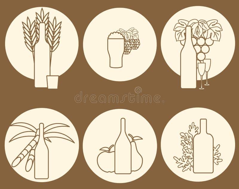 Insieme del logos sul tema dell'alcool illustrazione vettoriale