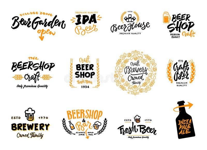 Insieme del logotype della birra fotografia stock