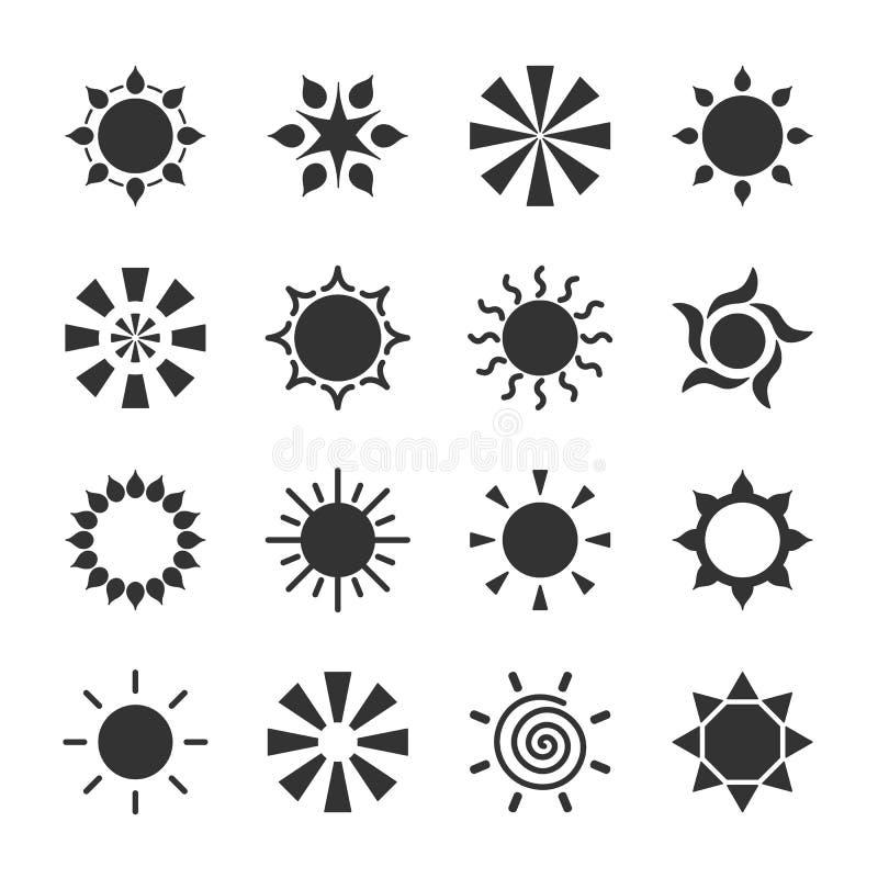 Insieme del logotype stilizzato del sole Icona del sole, stella, fiore Logo nero isolato su fondo bianco illustrazione di stock