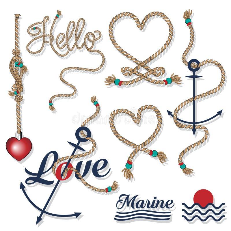 Insieme del mare e del EL della corda e nautico di tipografia dei distintivi e di progettazione illustrazione vettoriale