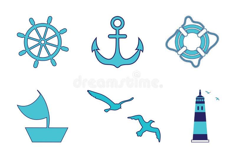 Insieme del mare, faro, volante, nave di navigazione, anello di vita, ancora, gabbiani Tutti gli oggetti sono fatti in un vettore illustrazione di stock