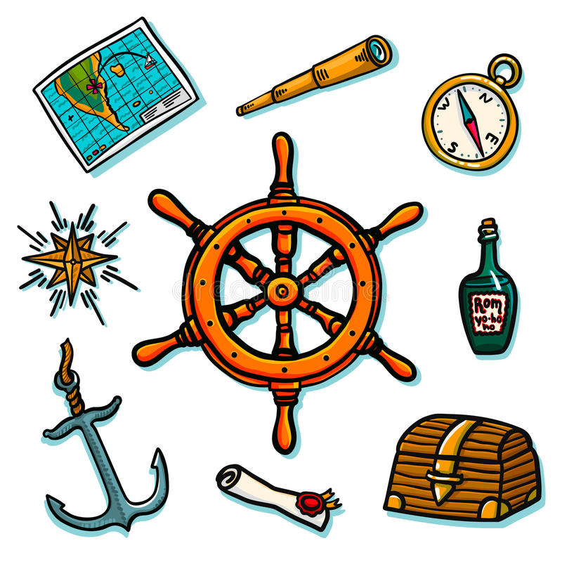 Insieme del marinaio Attrezzatura di fiancata della nave su un fondo bianco Tronco, timone, mappa, rotolo, bussola, rosa dei vent illustrazione di stock