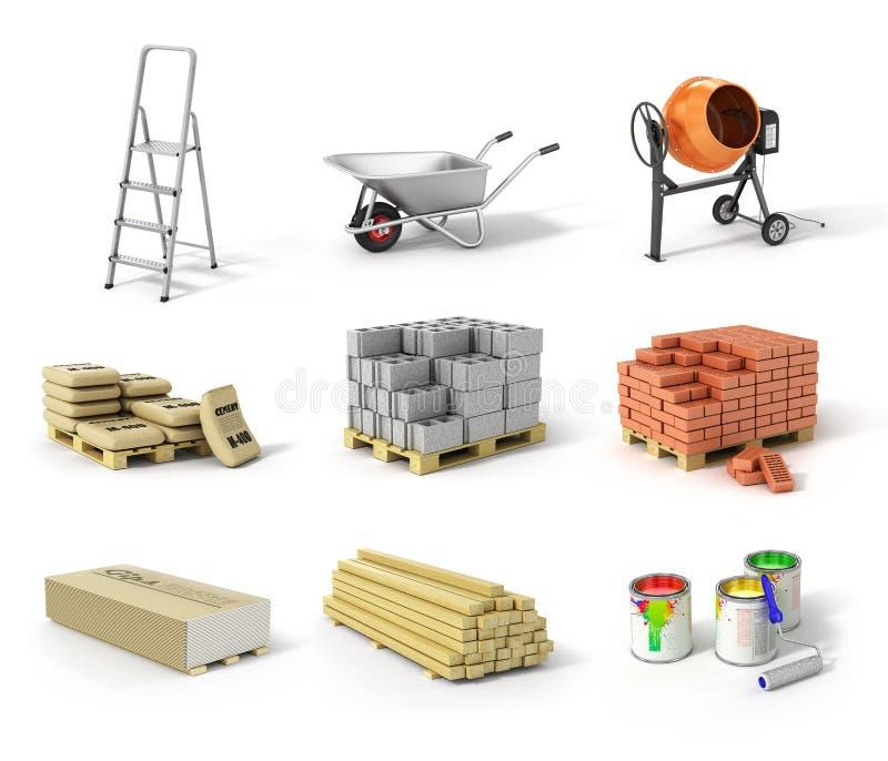 Insieme del materiale da costruzione Scala, ruota, betoniera, cem illustrazione di stock