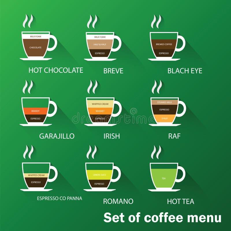 Insieme del menu del caffè illustrazione vettoriale