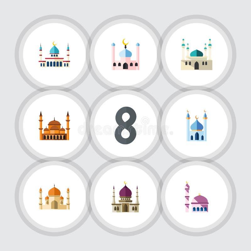 Insieme del minareto dell'icona di Islam, tradizionale piani, di architettura e di altri oggetti di vettore Inoltre comprende la  illustrazione vettoriale
