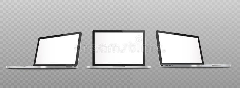 Insieme del modello del computer portatile aperto con lo schermo in bianco nello stile realistico di viste differenti illustrazione di stock