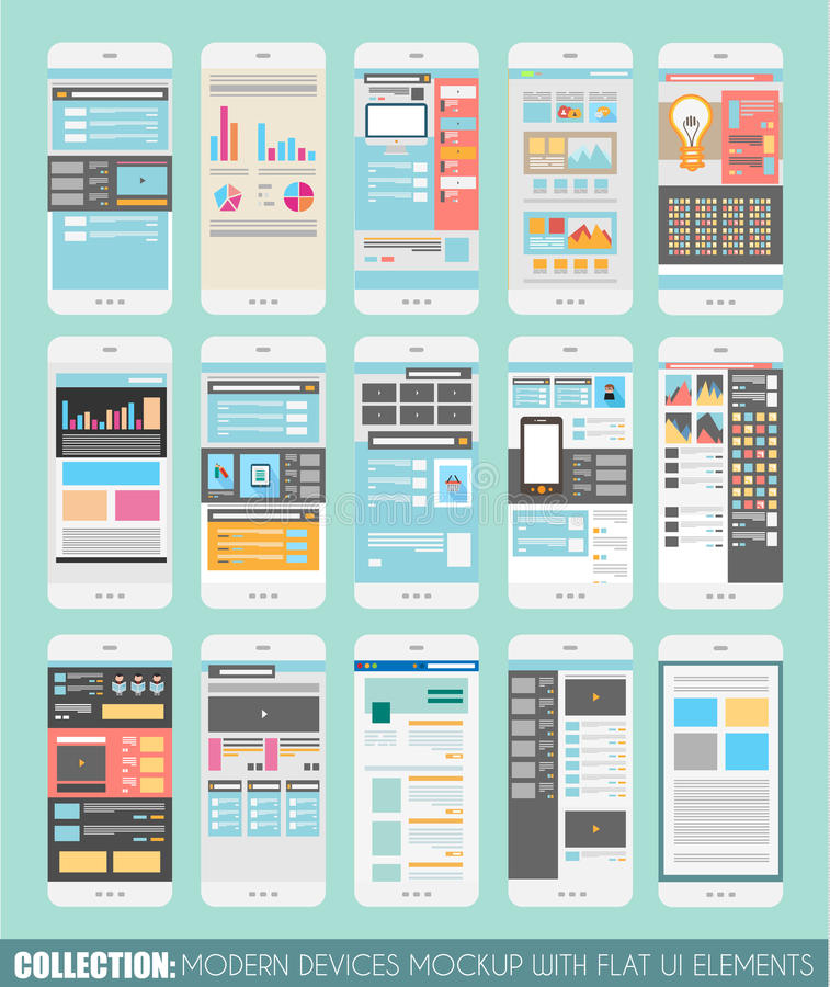 Insieme del modello dei touch screen, modelli Web Progettazioni dell'opuscolo royalty illustrazione gratis