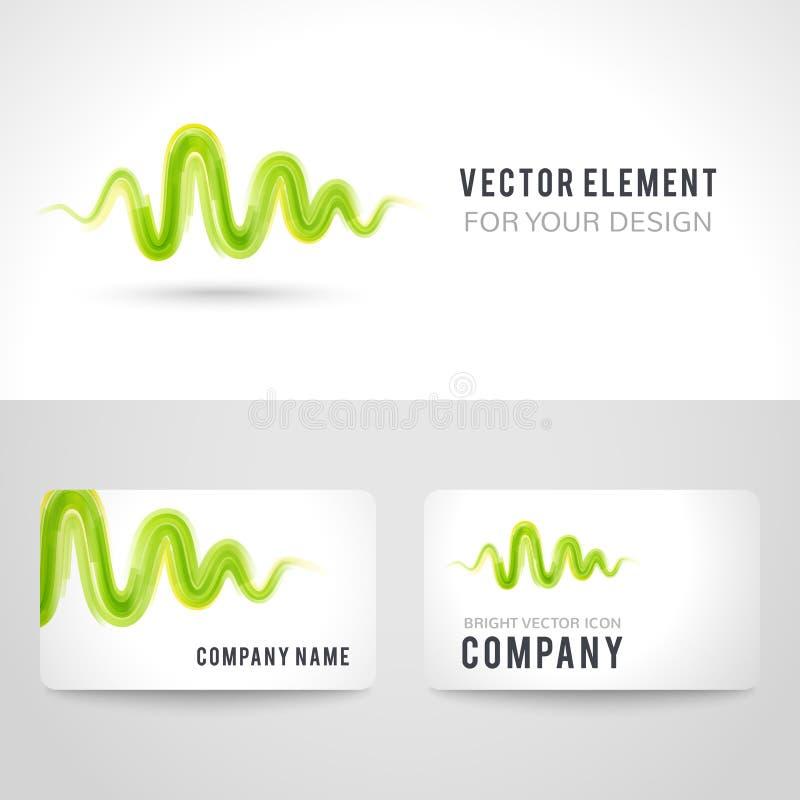Insieme del modello del biglietto da visita, onda verde astratta illustrazione vettoriale