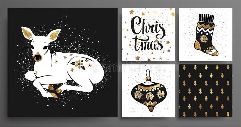 Insieme del modello del ` s del nuovo anno e di Natale fotografie stock libere da diritti