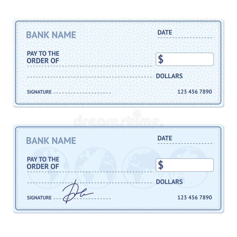 Insieme del modello dell'assegno bancario Vettore illustrazione vettoriale