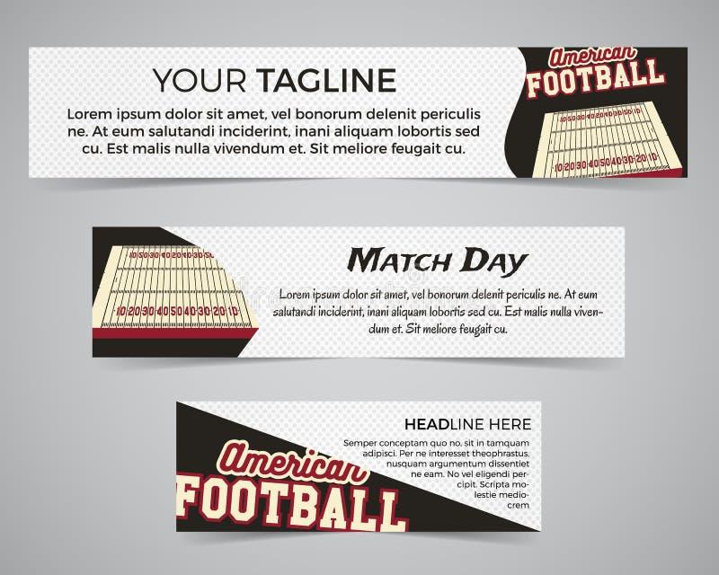 Insieme del modello dell'insegna di football americano con il logo, l'etichetta ed il distintivo di calcio Progettazione luminosa illustrazione di stock