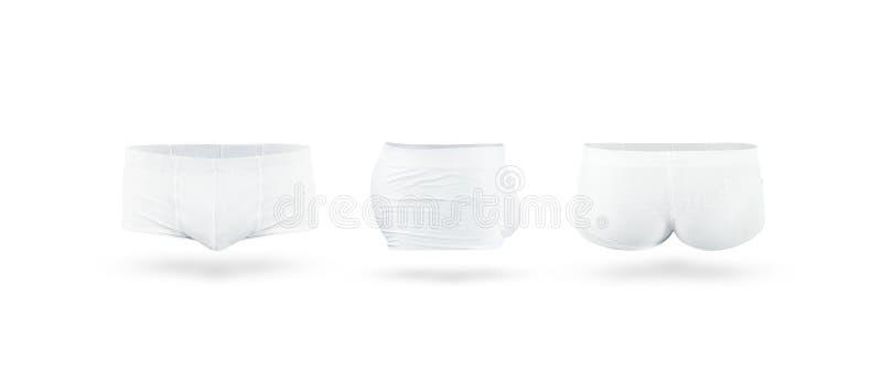 Insieme del modello della biancheria intima dei tronchi degli uomini bianchi in bianco fotografia stock libera da diritti