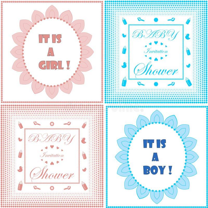Insieme del modello della carta dell'invito della doccia di bambino Progettazione della ragazza e del ragazzo Annuncio del neonat royalty illustrazione gratis
