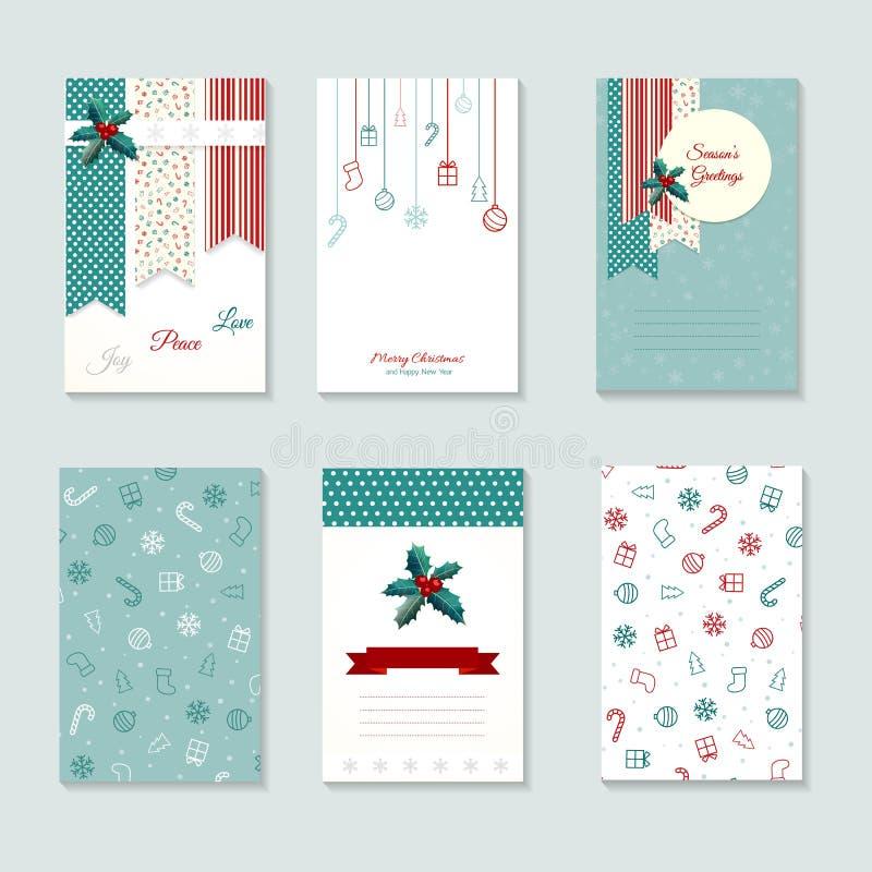 Insieme del modello della cartolina di Natale royalty illustrazione gratis