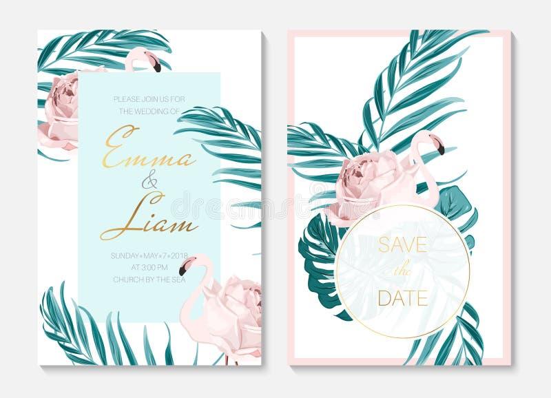 Insieme del modello delle carte dell'invito di evento di nozze Uccelli rosa esotici del fenicottero Forma del corpo come fiore ro royalty illustrazione gratis