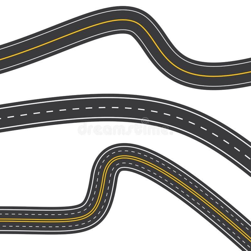 Insieme del modello delle strade asfaltate d'avvolgimento isolate su bianco illustrazione vettoriale