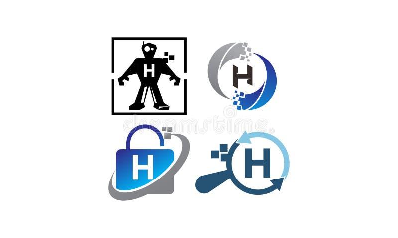 Insieme del modello di applicazione H di tecnologia illustrazione di stock