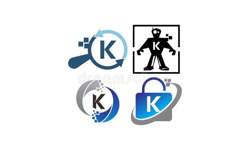 Insieme del modello di applicazione K di tecnologia illustrazione di stock