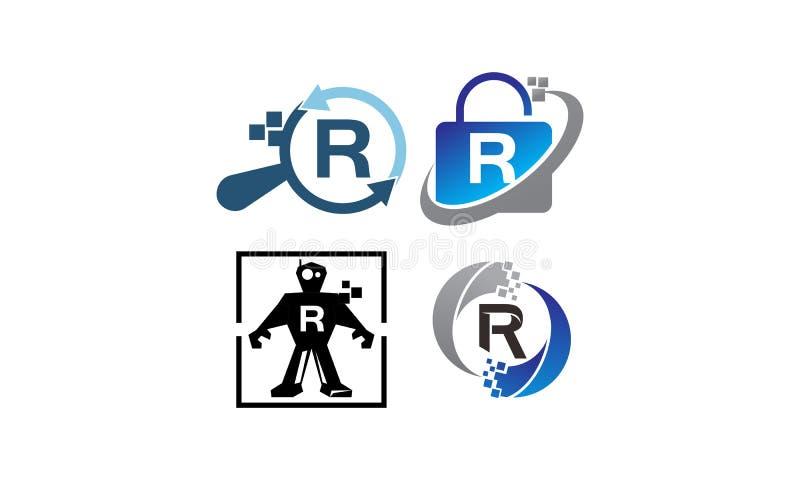 Insieme del modello di applicazione R di tecnologia illustrazione di stock