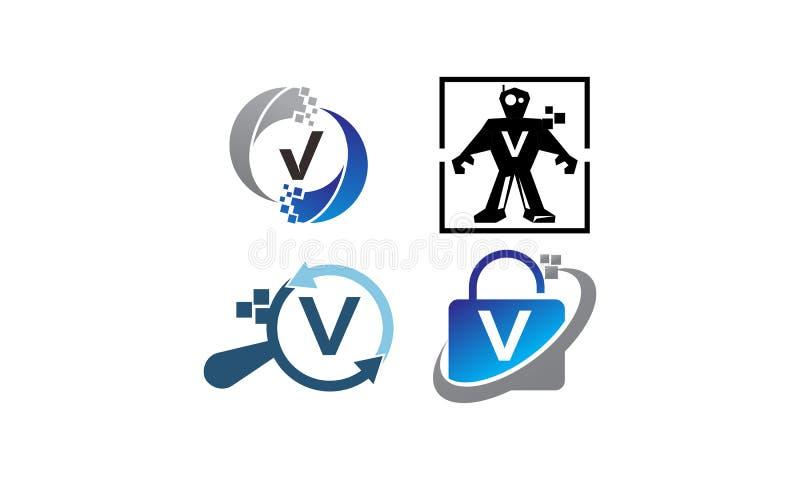 Insieme del modello di applicazione V di tecnologia illustrazione di stock