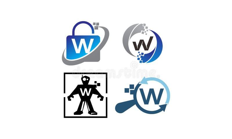 Insieme del modello di applicazione W di tecnologia royalty illustrazione gratis