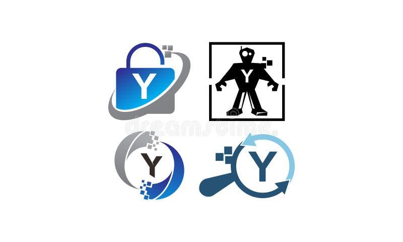 Insieme del modello di applicazione Y di tecnologia illustrazione vettoriale