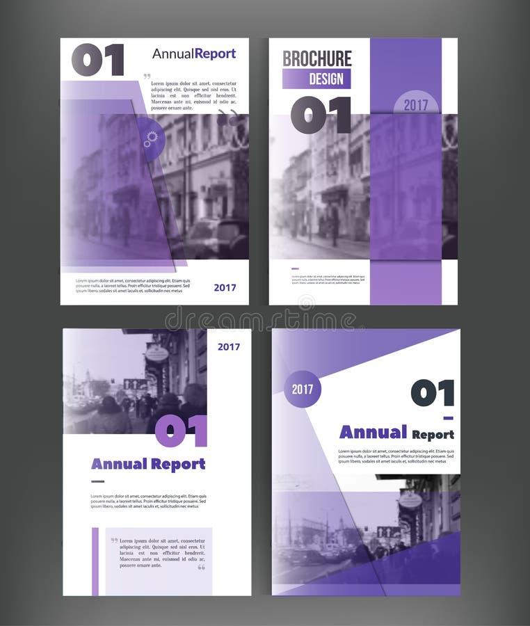 Insieme del modello di copertura dell'opuscolo di vettore con il paesaggio e la gente vaghi della città Copertina di libro di aff royalty illustrazione gratis