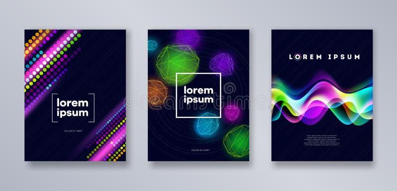 Insieme del modello di coperture moderno multicolore Progettazione astratta universale per le coperture, alette di filatoio, inse illustrazione di stock
