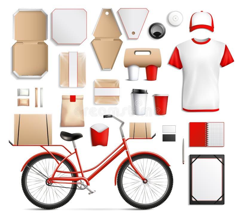 Insieme del modello di imballaggio per alimenti della via royalty illustrazione gratis