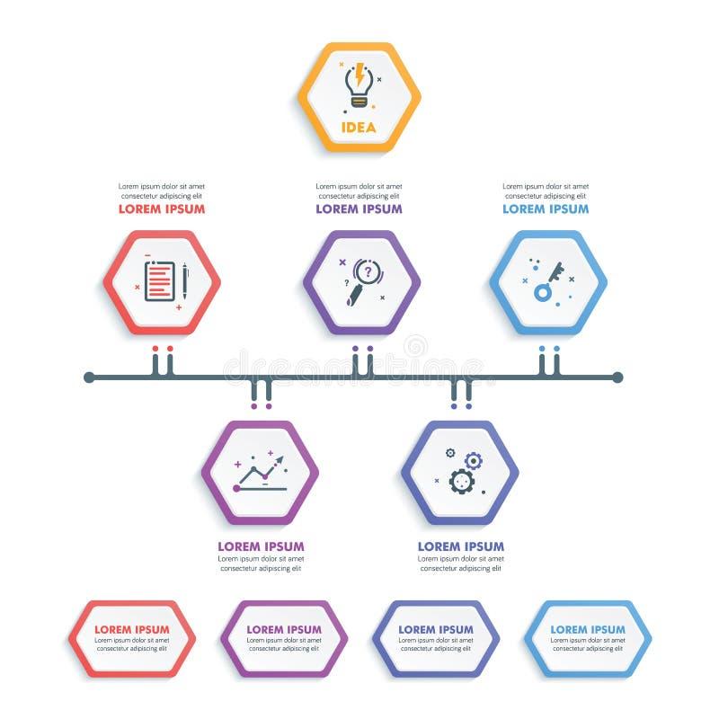 Insieme del modello di Infographic di affari Infographi esagonale moderno illustrazione vettoriale