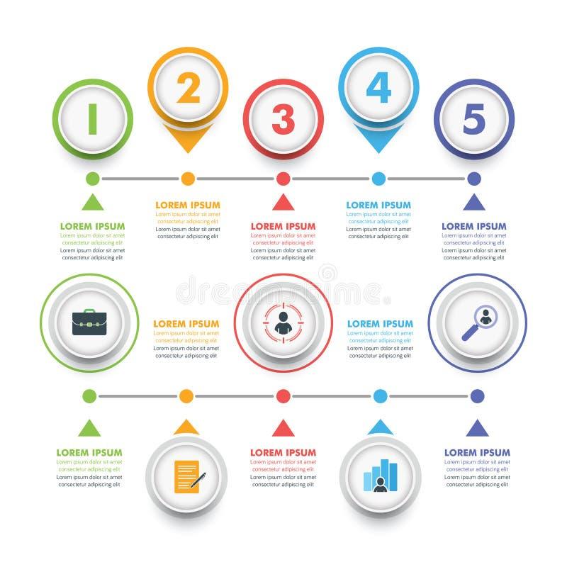 Insieme del modello di Infographic di affari Infographics moderno Timelin illustrazione di stock