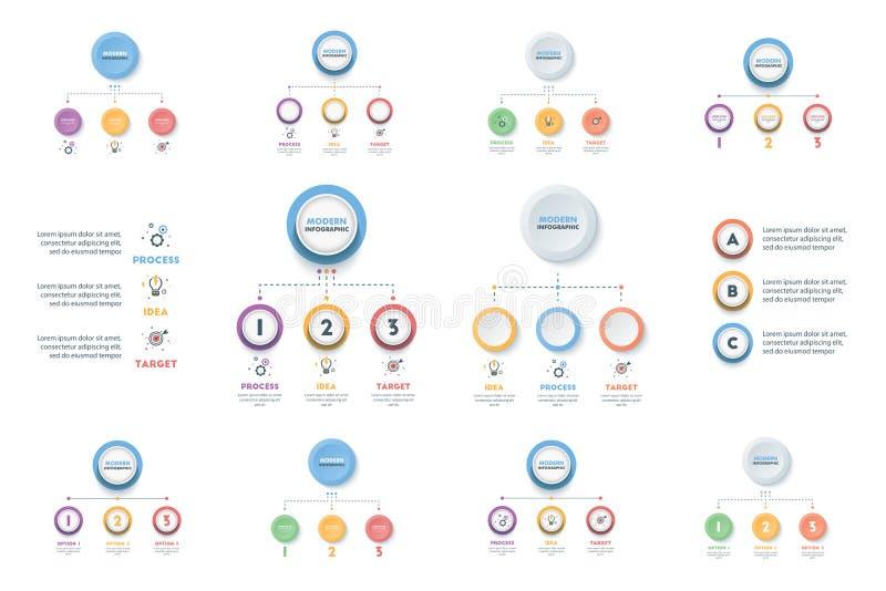 Insieme del modello di Infographic di affari Infographics moderno Timelin illustrazione vettoriale