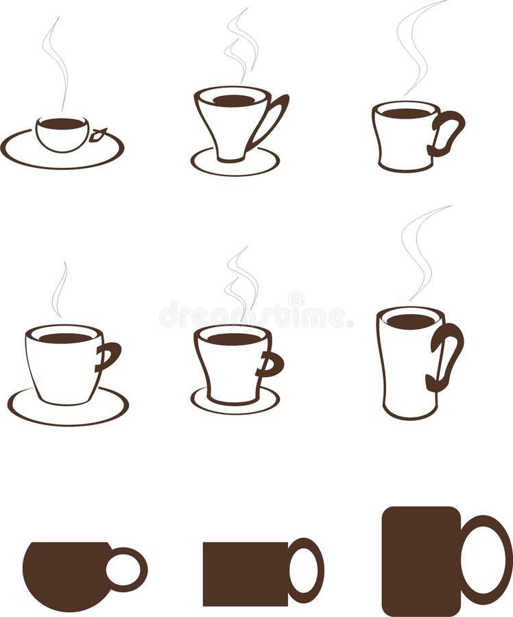 Insieme del modello di logo di vettore del caffè illustrazione vettoriale